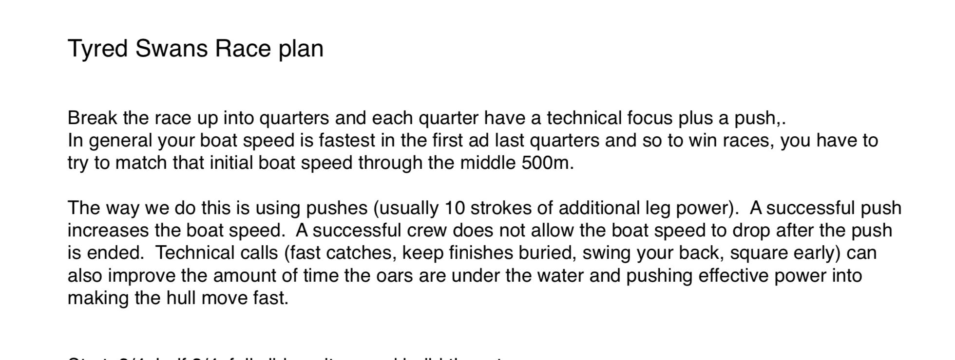 rowing race plan,